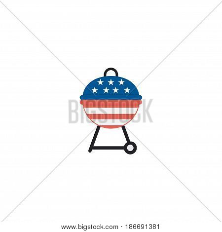 Flat Bbq Element. Vector Illustration Of Flat Barbecue Isolated On Clean Background. Can Be Used As Barbecue, Bbq And Brazier Symbols.