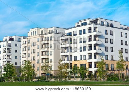 Development area with new multi-family houses seen in Berlin, Germany