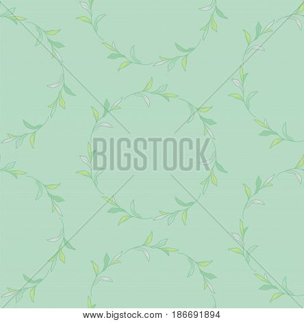 Vector Colorful Decorative Seamless Backdround Pattern with Drawn Circles with Herbs, Plants, Branches. Doodle Style Greenery, Lush Foliage, Foliate. Vector Illustration. Pattern Swatch