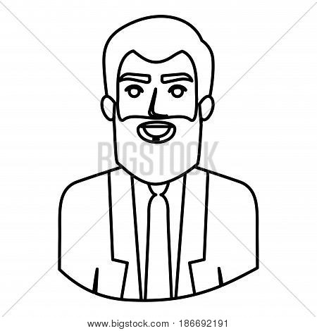 monochrome contour half body of man with beard and formal suit vector illustration
