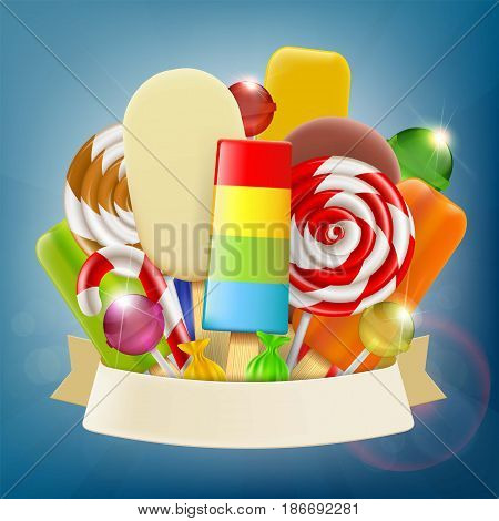 Set of ice cream candy and sweets with ribbon. Advertising of confectionery products. Stock vector illustration.