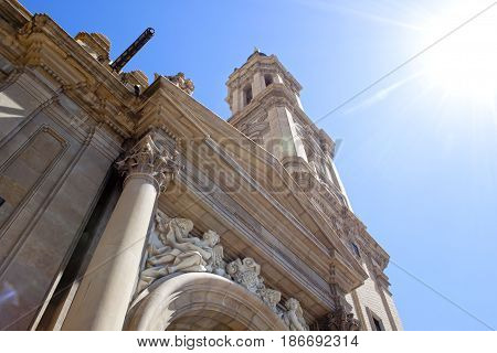 View Of El Pilar Cathedral From Down In Zaragoza, Spain