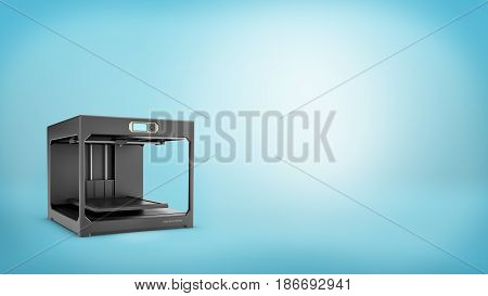 3d rendering of a black 3d-printer with a small screen and an empty printing bed on blue background. New production technologies. DIY. Engineering and design tools.