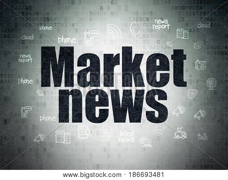 News concept: Painted black text Market News on Digital Data Paper background with  Hand Drawn News Icons