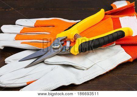 new garden scissors and working gloves on wooden background