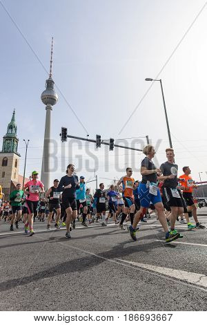 BERLIN - APRIL 03 2016: The annual Berlin Half Marathon. Race through the city streets.