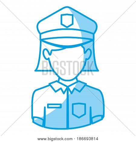 blue silhouette with half body of faceless policewoman vector illustration
