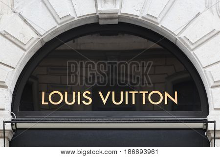 Lyon, France - February 26, 2017: Louis Vuitton sign on a wall. Louis Vuitton is a French company specialized in fashion accessories