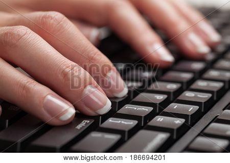 Typing computer keyboard isolate caucasian keyboard closeup consumer electronics