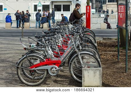 BERLIN - APRIL 03 2016: bicycle rental station of company Deutsche Bahn (German Railway).