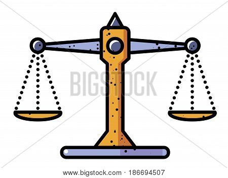 Cartoon image of Balance Icon. Scales symbol. An artistic freehand picture.