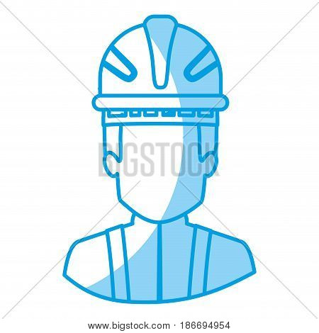 blue silhouette with half body of faceless firefighter vector illustration