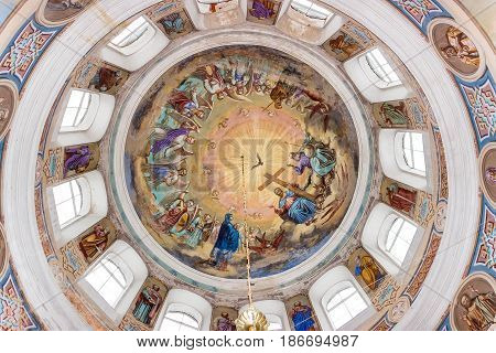 Selco-Karelian village, Russia - November 24, 2013: Ceiling painting in the Orthodox Church Temple of the Resurrection in the village of Selco-Karelian, Russia.