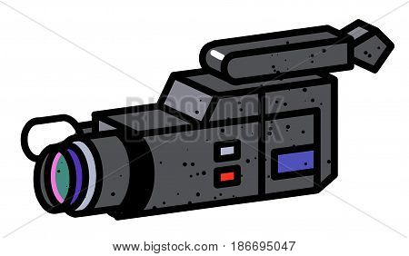 Cartoon image of Video camera. Camera symbol. An artistic freehand picture.