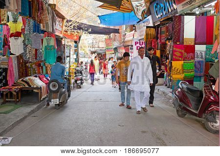 INDIA, RAM JHULA - APRIL 11, 2017: Shopping street in Ram Jhula, India on 11th of april 2017