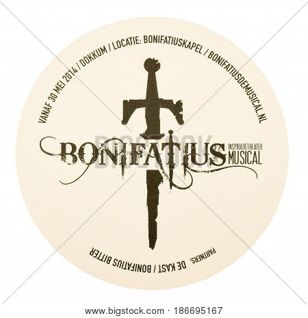 NETHERLANDS - DELFT - MEDIA FEBRUARY 2015: Beer coaster for advertising for Bonifatius The Musical.