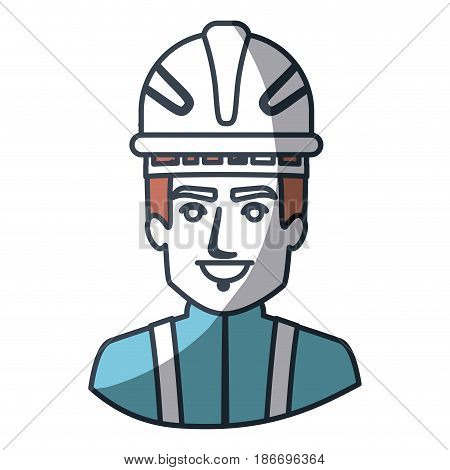 color silhouette and thick contour of half body of firefighter vector illustration