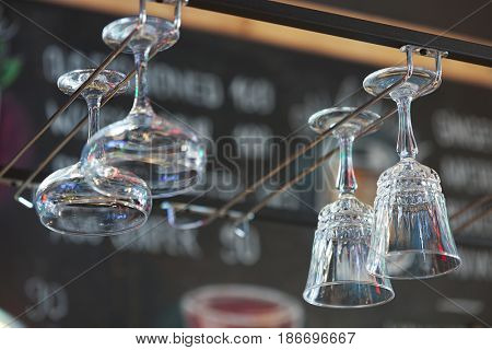 Empty glasses over bar counter
