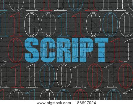 Software concept: Painted blue text Script on Black Brick wall background with Binary Code