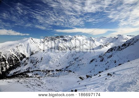 Alpine Mountain Peaks Panorama in Pirin Mountain, Bulgaria, Bansko