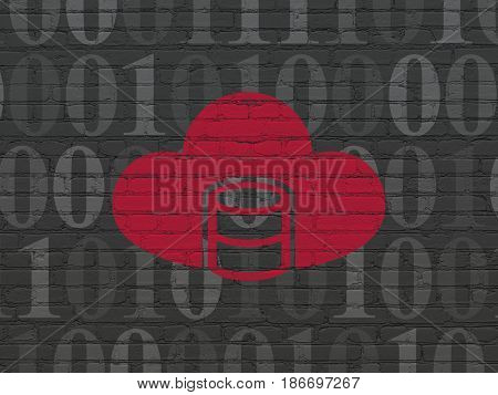 Software concept: Painted red Database With Cloud icon on Black Brick wall background with  Binary Code