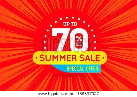 Summer Sale Sign Banner Poster ready for Web and Print. Vector. Super, Mega, Huge Sale with Special Offer