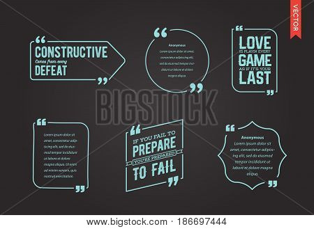 Typographic Quote Template. Template Vector Set. Trendy Colours.