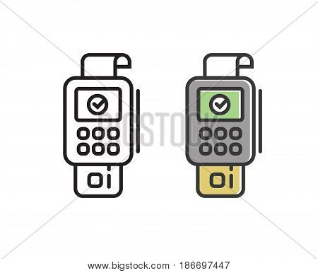 pos terminal payment  line icon with credit card and check. Outline vector sign. linear pictogram isolated.