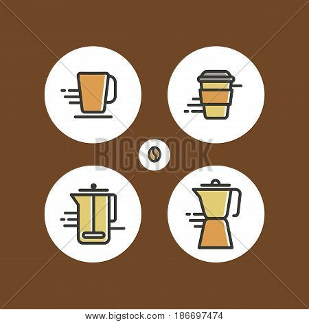 Set of different flat coffee icons. Colorful icons for coffee shop and cafe.