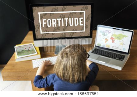 Young girl using computer laptop