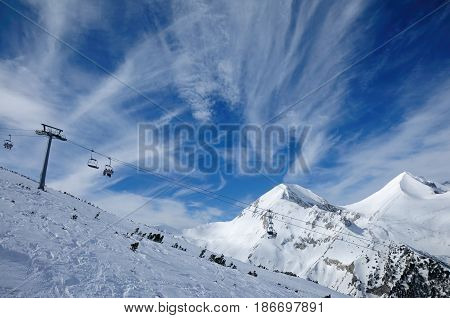 Ski zone Bansko Bulgaria in sunny day