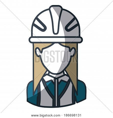 color silhouette and thick contour of half body of faceless female architect with helmet vector illustration