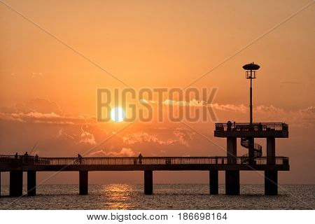 Romantic sunset moment on bridge in Burgas Bulgaria