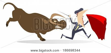 Frightened bullfighter with sword and cape runs away from the angry bull