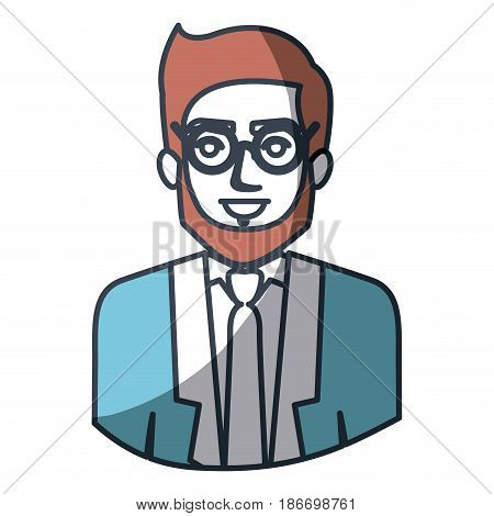 color silhouette and thick contour of half body of man with beard and glasses and formal suit vector illustration