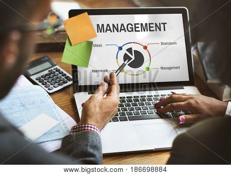 Computer laptop screen showing management plan