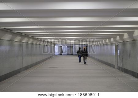Moscow, Russia - May, 7, 2017: People in a pedestrian tunnel in Moscow