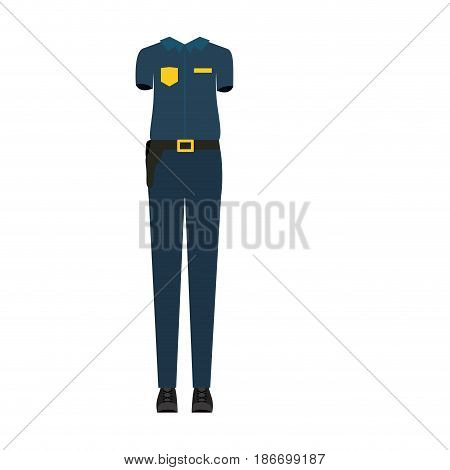 colorful silhouette with female uniform of policewoman vector illustration