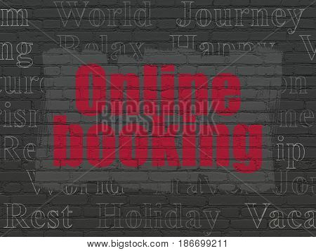 Vacation concept: Painted red text Online Booking on Black Brick wall background with  Tag Cloud