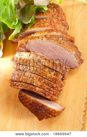 smoked  duck breast meat fillet,  sliced