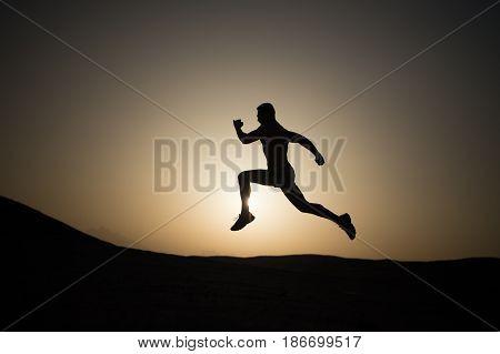 Running Man On Mountain Nature Landscape On Sky Background