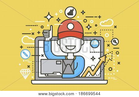 Stock vector illustration peddler parcels carrier man packaging box in hand thumbs up design element for delivery service business, online order, booking management line art yellow background icon