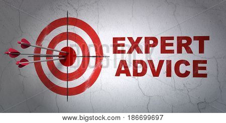 Success law concept: arrows hitting the center of target, Red Expert Advice on wall background, 3D rendering