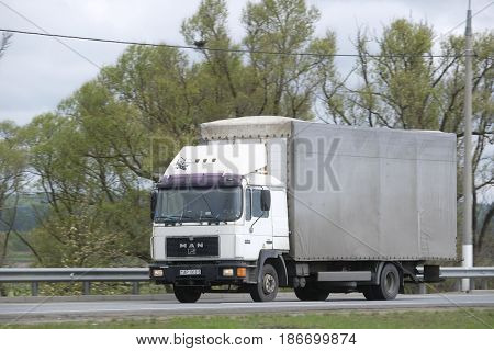 Moscow region, Russia - May, 10, 2017: Truck on a highway in Moscow region, Russia
