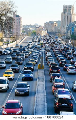 Moscow, Russia - May, 4, 2017: traffic jam in a center of Moscow, Russia