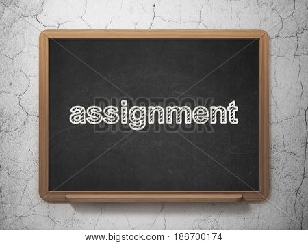 Law concept: text Assignment on Black chalkboard on grunge wall background, 3D rendering