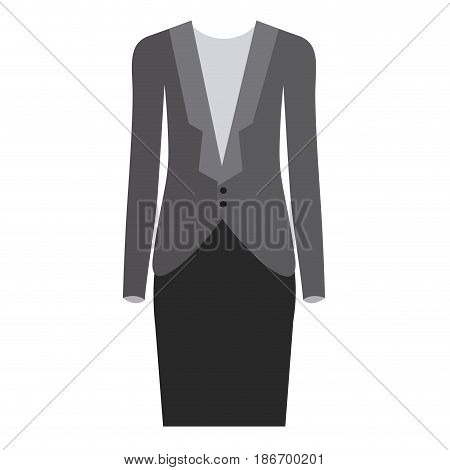colorful silhouette with female formal suit clothes vector illustration