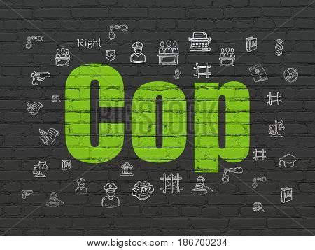 Law concept: Painted green text Cop on Black Brick wall background with  Hand Drawn Law Icons