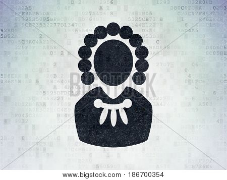 Law concept: Painted black Judge icon on Digital Data Paper background