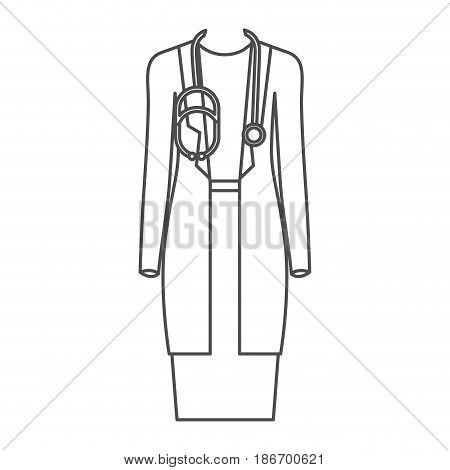 monochrome silhouette of female doctor clothing vector illustration